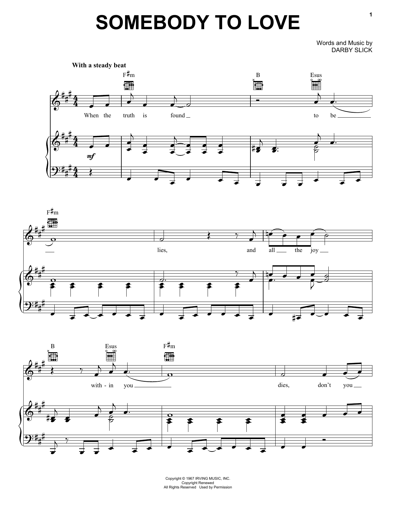 Download Jefferson Airplane Somebody To Love sheet music and printable PDF score & Rock music notes