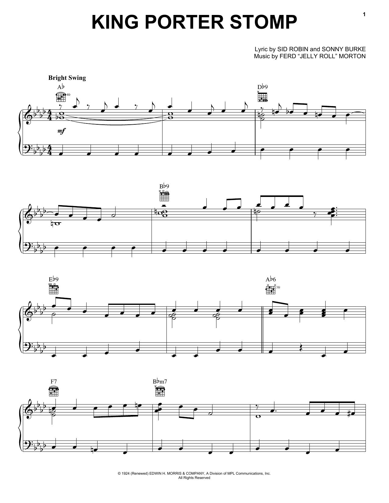Download Jelly Roll Morton King Porter Stomp sheet music and printable PDF score & Folk music notes