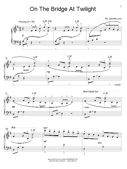 Download Jennifer Linn On The Bridge At Twilight sheet music and printable PDF score & Pop music notes