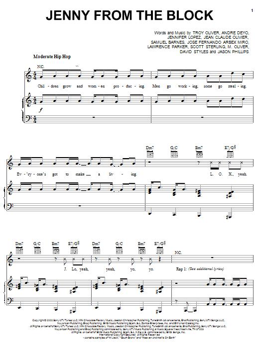 Download Jennifer Lopez Jenny From The Block (feat. Jadakiss & Styles) sheet music and printable PDF score & Pop music notes