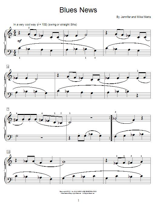 Download Jennifer Watts Blues News sheet music and printable PDF score & Pop music notes