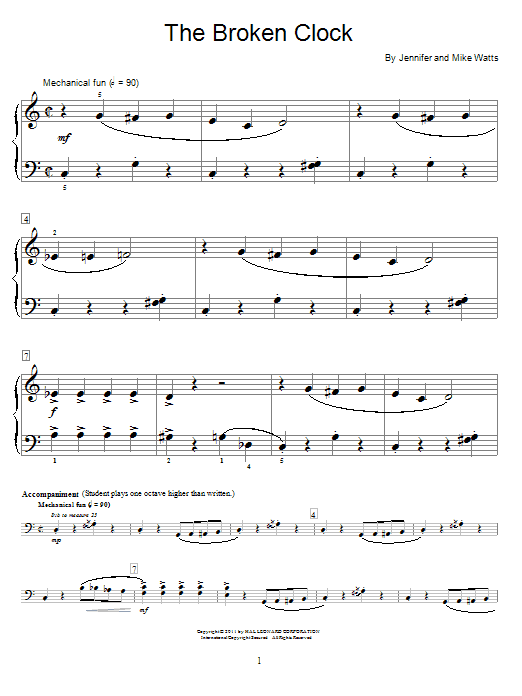 Download Jennifer Watts The Broken Clock sheet music and printable PDF score & Pop music notes
