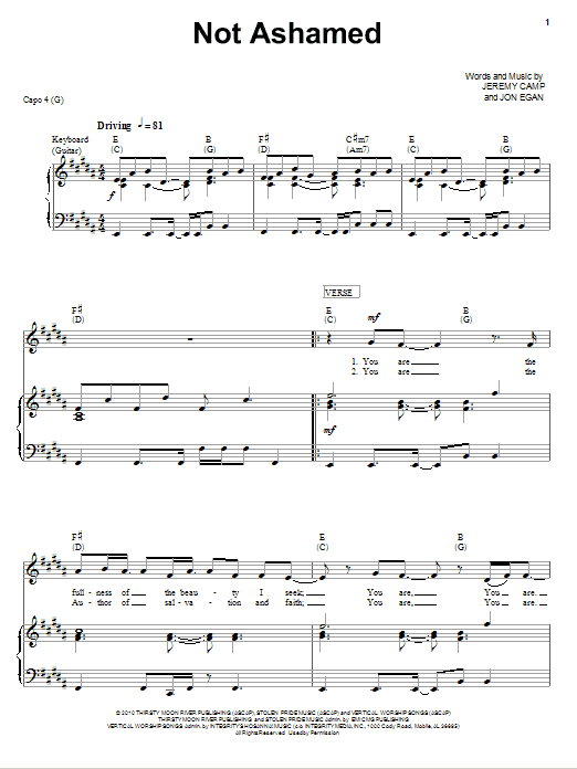 Download Jeremy Camp Not Ashamed sheet music and printable PDF score & Pop music notes