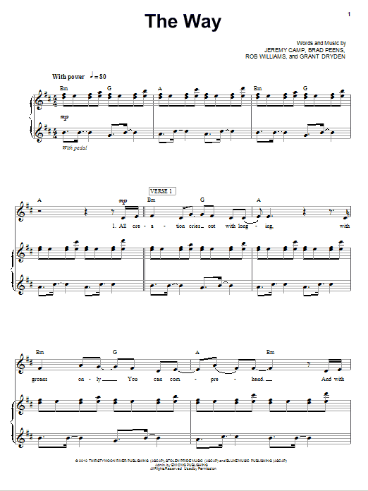 Download Jeremy Camp The Way sheet music and printable PDF score & Pop music notes