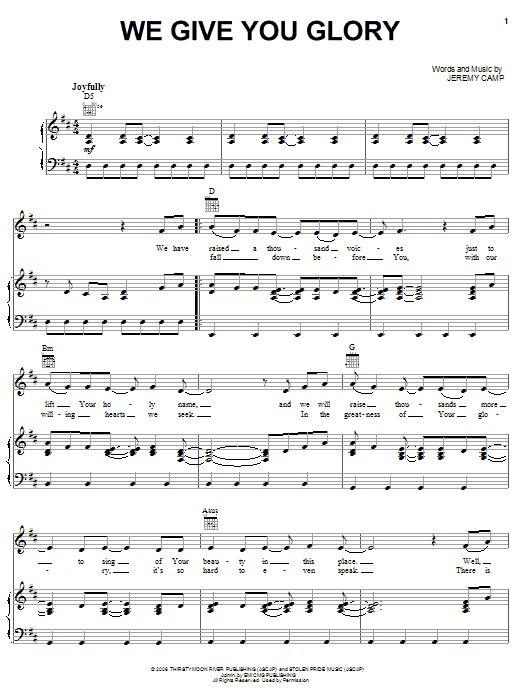Download Jeremy Camp We Give You Glory sheet music and printable PDF score & Pop music notes