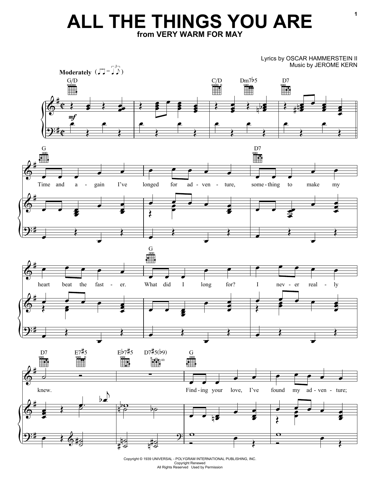 Download Jerome Kern All The Things You Are sheet music and printable PDF score & Folk music notes