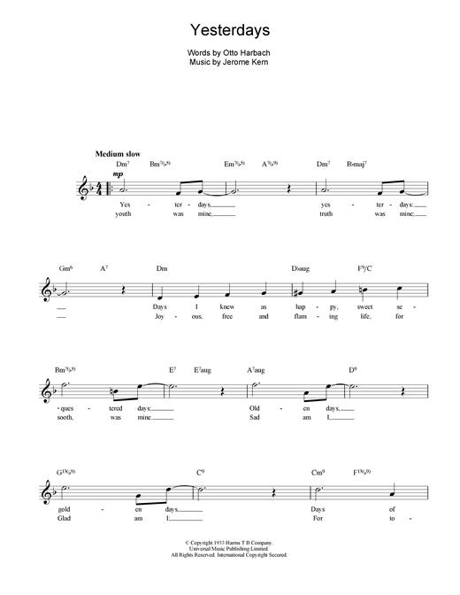 Download Jerome Kern Yesterdays sheet music and printable PDF score & Jazz music notes