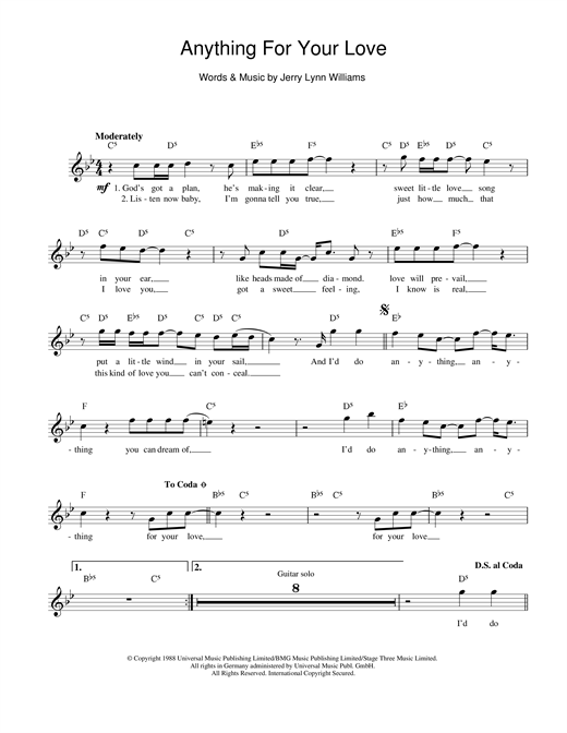 Download Jerry Lynn Williams Anything For Your Love sheet music and printable PDF score & Rock music notes