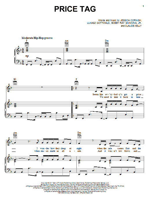 Download Jessie J Price Tag (feat. B.o.B) sheet music and printable PDF score & Pop music notes