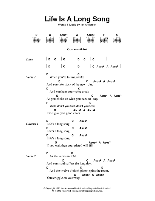 Download Jethro Tull Life Is A Long Song sheet music and printable PDF score & Pop music notes
