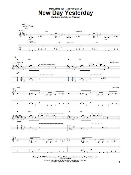 Download Jethro Tull New Day Yesterday sheet music and printable PDF score & Pop music notes