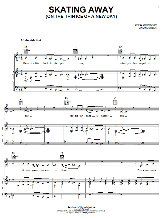 Download Jethro Tull Skating Away (On The Thin Ice Of A New Day) sheet music and printable PDF score & Pop music notes