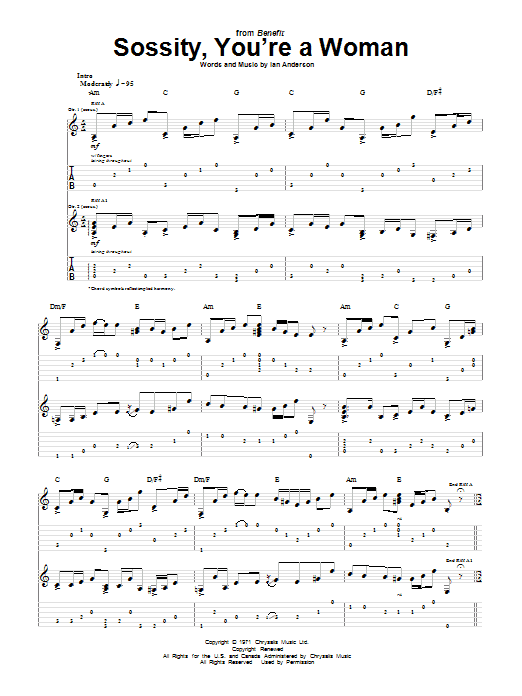 Download Jethro Tull Sossity, You're A Woman sheet music and printable PDF score & Rock music notes
