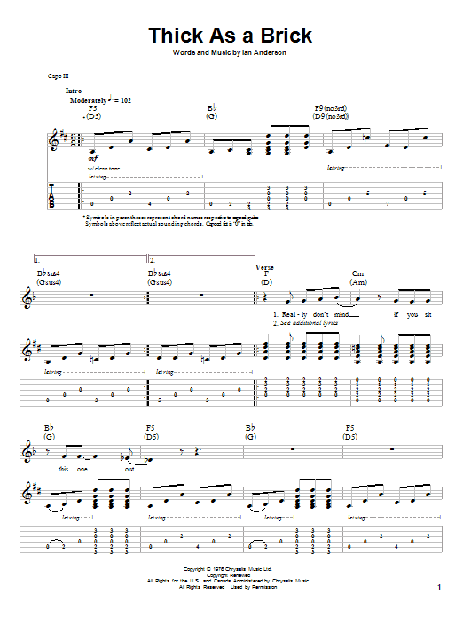 Download Jethro Tull Thick As A Brick sheet music and printable PDF score & Pop music notes