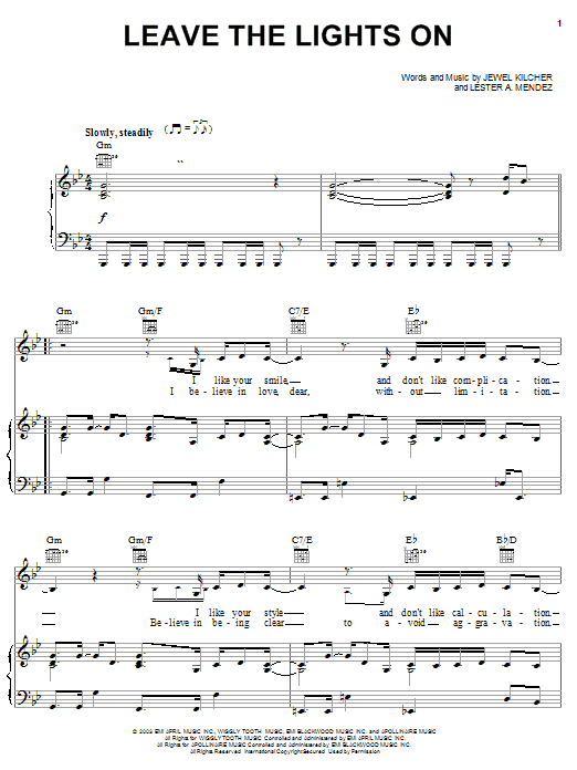 Download Jewel Leave The Lights On sheet music and printable PDF score & Pop music notes