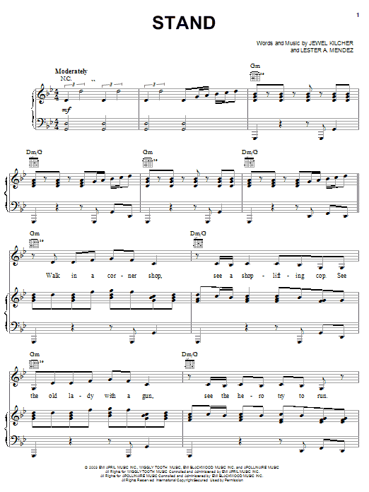 Download Jewel Stand sheet music and printable PDF score & Pop music notes