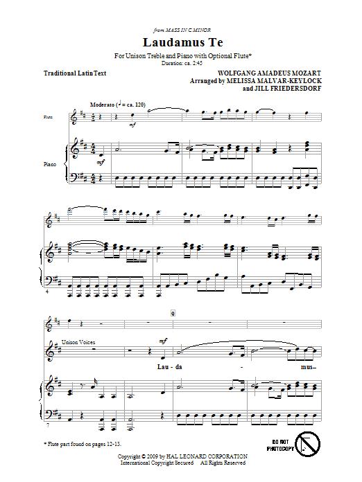 Download Jill Friedersdorf and Melissa Malvar-Keylock Laudamus Te sheet music and printable PDF score & World music notes