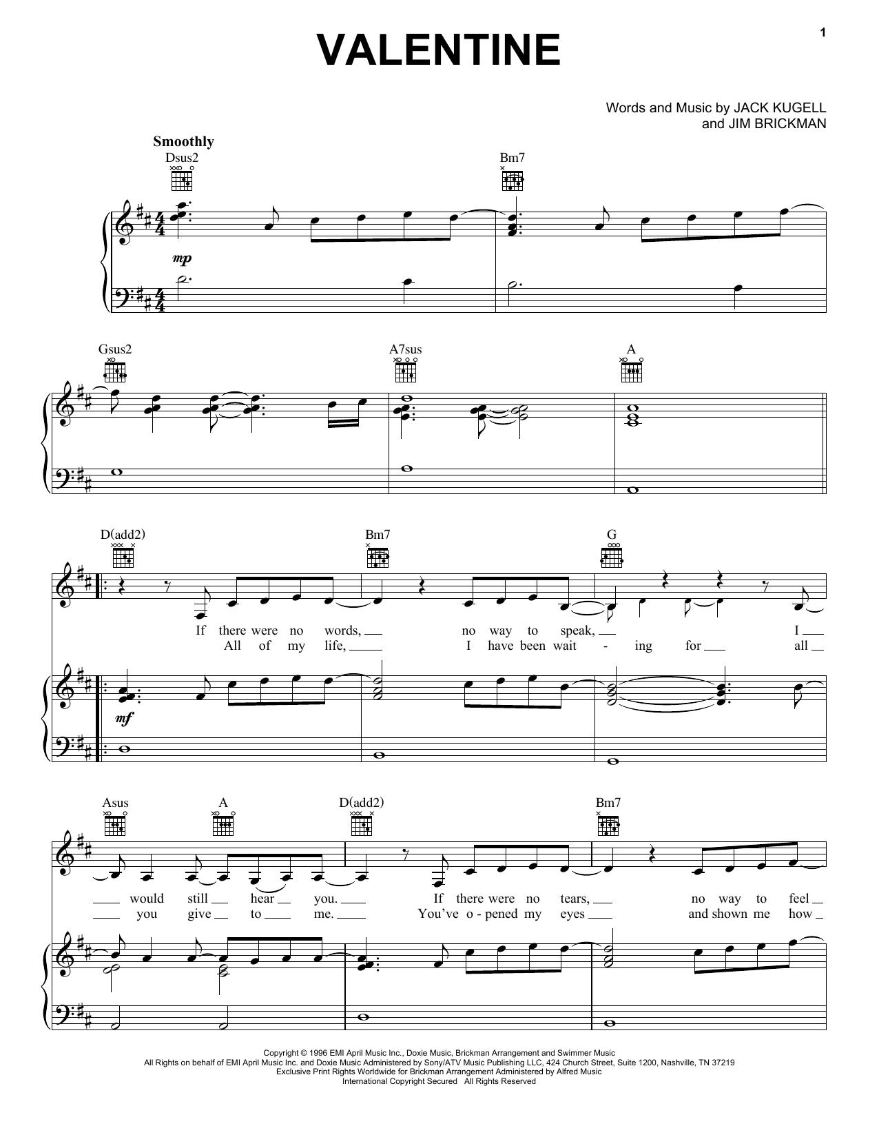 Download Jim Brickman with Martina McBride Valentine sheet music and printable PDF score & Pop music notes