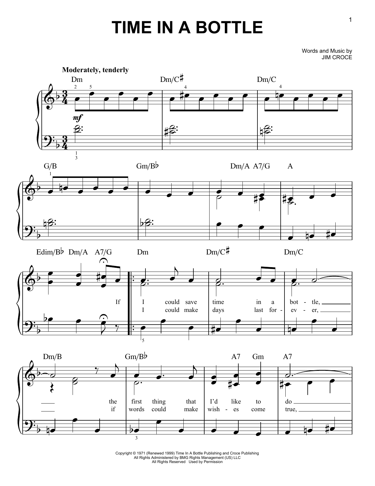 Download Jim Croce Time In A Bottle sheet music and printable PDF score & Pop music notes