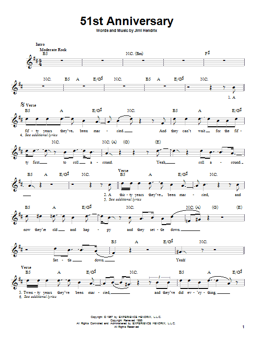 Download Jimi Hendrix 51st Anniversary sheet music and printable PDF score & Rock music notes
