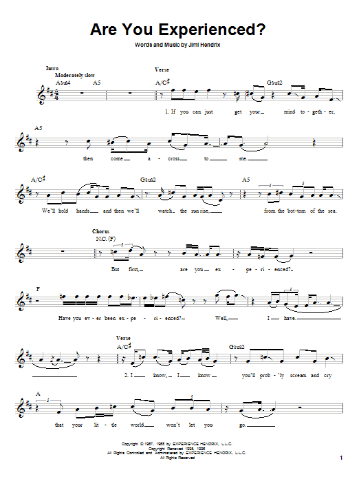 Download Jimi Hendrix Are You Experienced? sheet music and printable PDF score & Rock music notes
