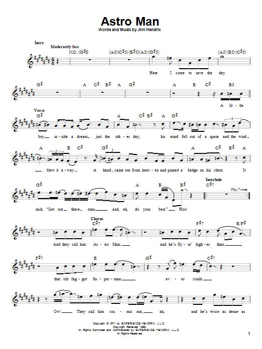 Download Jimi Hendrix Astro Man sheet music and printable PDF score & Rock music notes