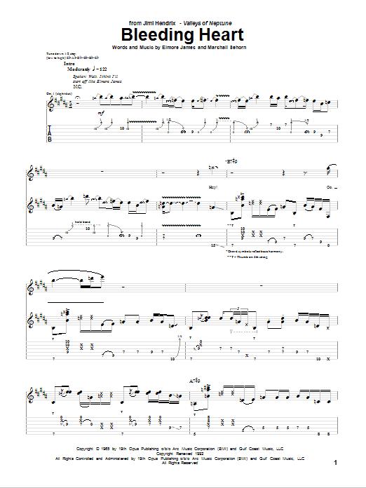 Download Jimi Hendrix Bleeding Heart sheet music and printable PDF score & Pop music notes
