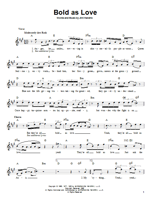 Download Jimi Hendrix Bold As Love sheet music and printable PDF score & Rock music notes