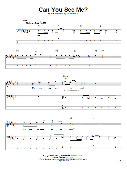 Download Jimi Hendrix Can You See Me sheet music and printable PDF score & Rock music notes