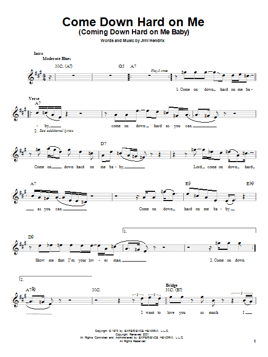 Download Jimi Hendrix Come Down Hard On Me (Coming Down Hard On Me Baby) sheet music and printable PDF score & Rock music notes
