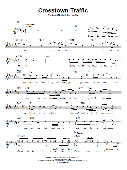 Download Jimi Hendrix Crosstown Traffic sheet music and printable PDF score & Rock music notes