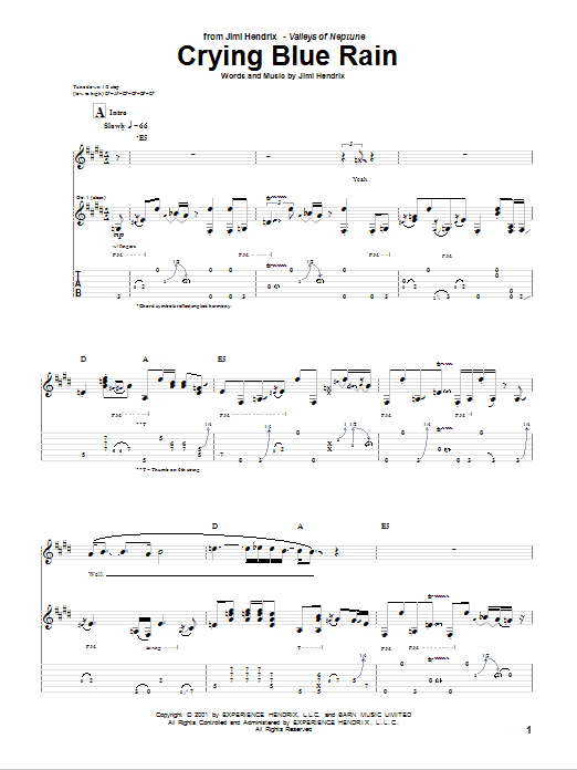 Download Jimi Hendrix Crying Blue Rain sheet music and printable PDF score & Rock music notes