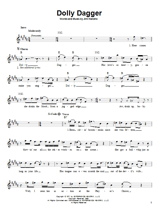 Download Jimi Hendrix Dolly Dagger sheet music and printable PDF score & Rock music notes