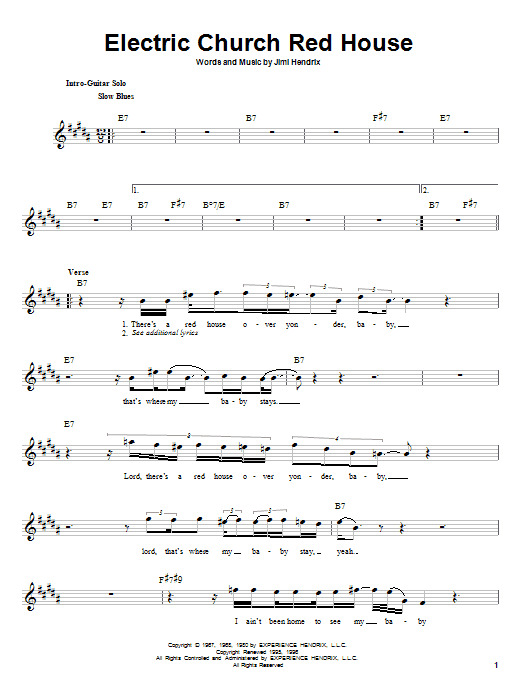 Download Jimi Hendrix Electric Church Red House sheet music and printable PDF score & Rock music notes