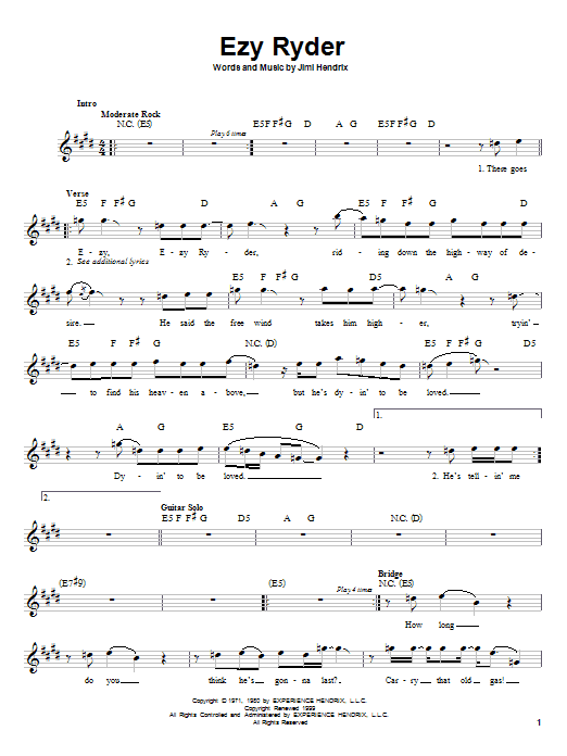 Download Jimi Hendrix EZY Ryder sheet music and printable PDF score & Rock music notes