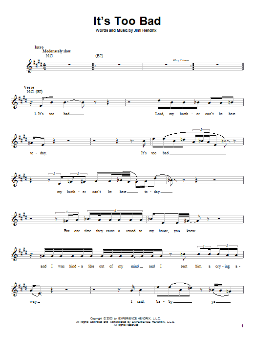 Download Jimi Hendrix It's Too Bad sheet music and printable PDF score & Rock music notes