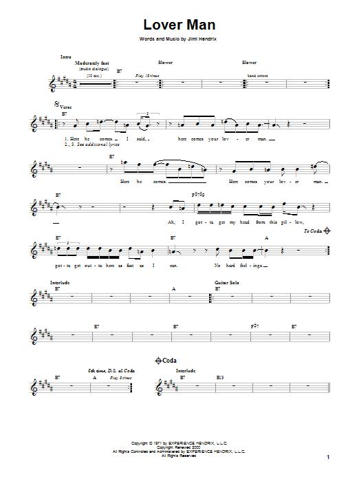 Download Jimi Hendrix Lover Man sheet music and printable PDF score & Rock music notes