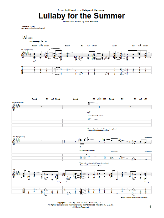 Download Jimi Hendrix Lullaby For The Summer sheet music and printable PDF score & Rock music notes