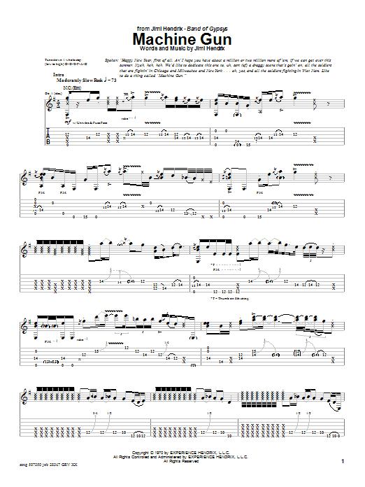 Download Jimi Hendrix Machine Gun sheet music and printable PDF score & Rock music notes