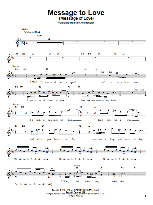 Download Jimi Hendrix Message To Love (Message Of Love) sheet music and printable PDF score & Rock music notes