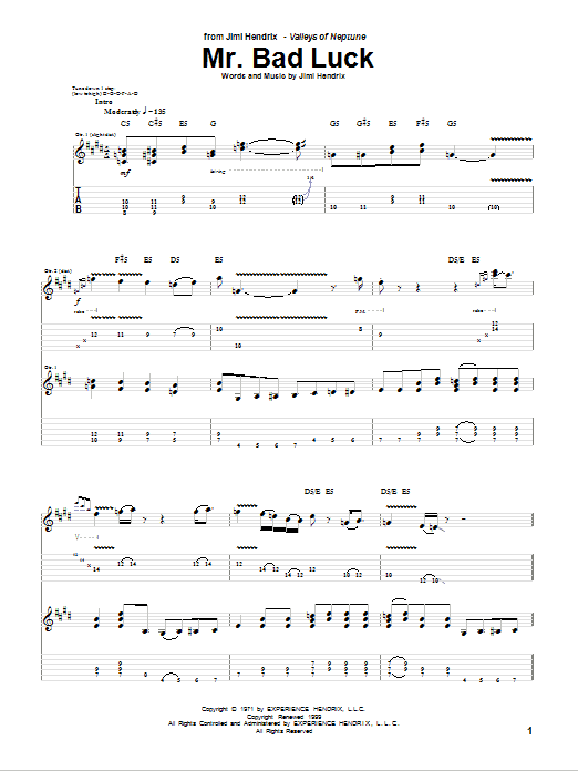 Download Jimi Hendrix Mr. Bad Luck sheet music and printable PDF score & Rock music notes