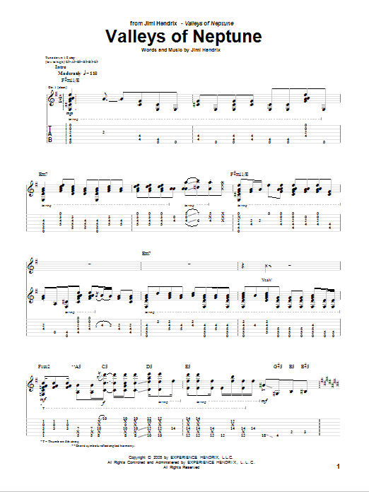 Download Jimi Hendrix Valleys Of Neptune sheet music and printable PDF score & Rock music notes