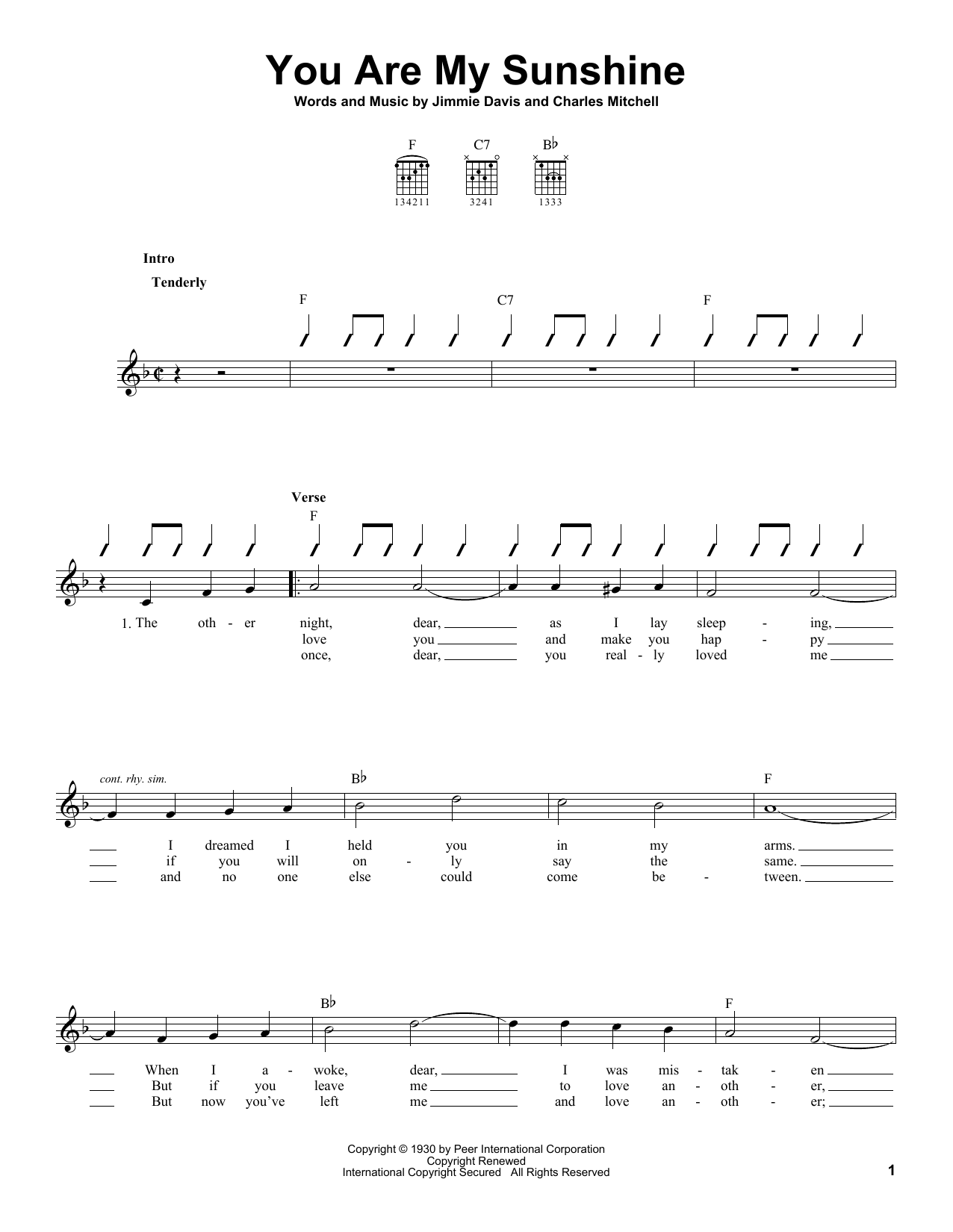 Download Ray Charles You Are My Sunshine sheet music and printable PDF score & Country music notes