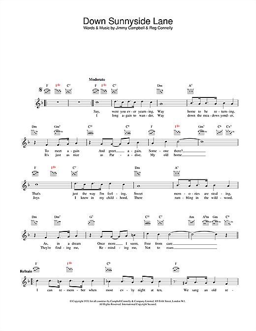 Download Jimmy Campbell and Reg Connelly Down Sunnyside Lane sheet music and printable PDF score & Jazz music notes