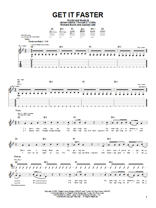 Download Jimmy Eat World Get It Faster sheet music and printable PDF score & Rock music notes