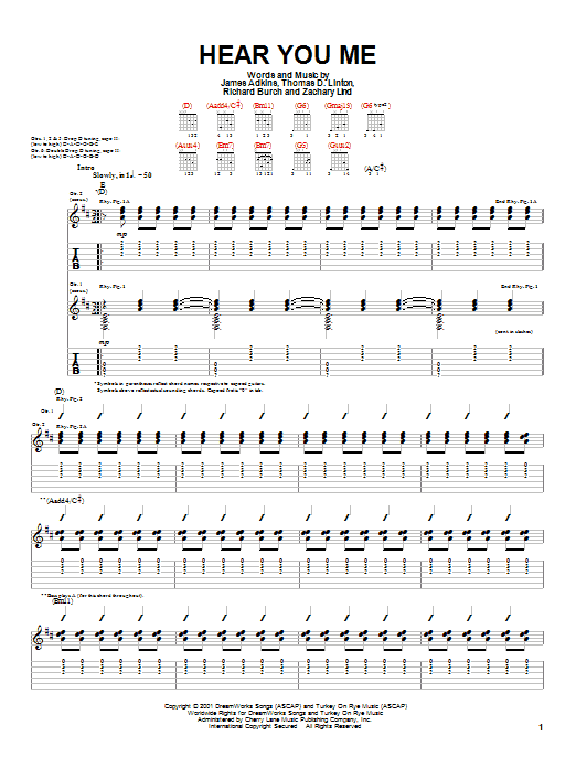 Download Jimmy Eat World Hear You Me sheet music and printable PDF score & Rock music notes