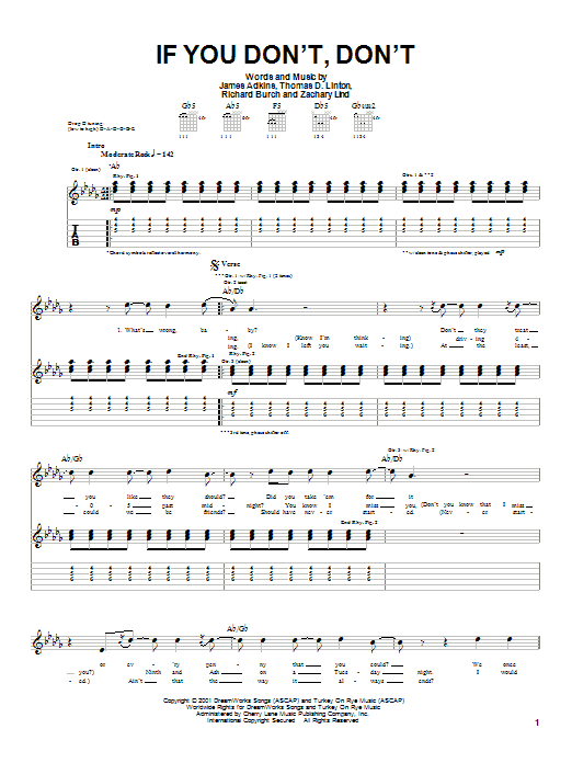 Download Jimmy Eat World If You Don't, Don't sheet music and printable PDF score & Rock music notes