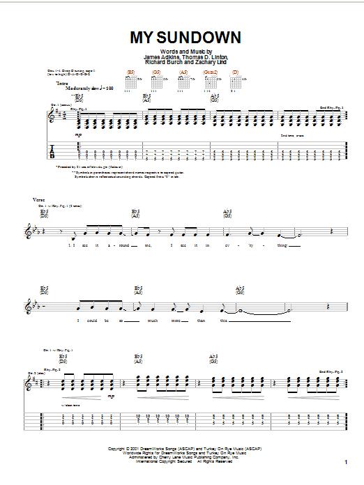 Download Jimmy Eat World My Sundown sheet music and printable PDF score & Rock music notes