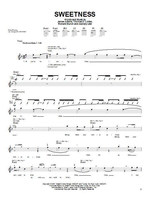 Download Jimmy Eat World Sweetness sheet music and printable PDF score & Rock music notes