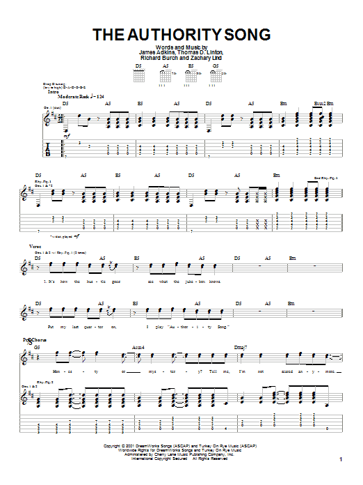Download Jimmy Eat World The Authority Song sheet music and printable PDF score & Rock music notes